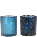 Glass windlight Leh, 2 colors, D7,5cm, H8cm, hellb